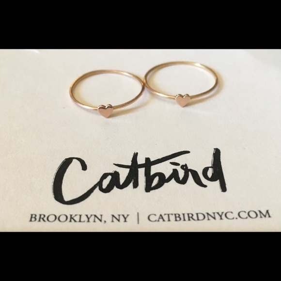 54 off Catbird Jewelry Nyc 2 Rose Gold Heart Ring Includes Box